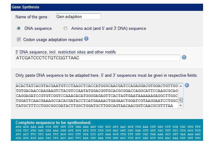 Ecom screenshot of wild type sequence vs optimised seequence (click to enlarge)